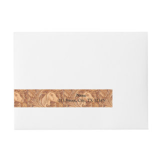 Rustic western Horse pattern tooled leather Wrap Around Address Label