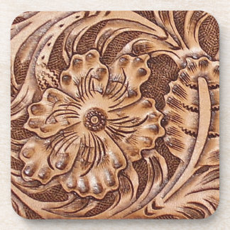 Rustic Western Ranch Tooled Leather-look I Beverage Coaster
