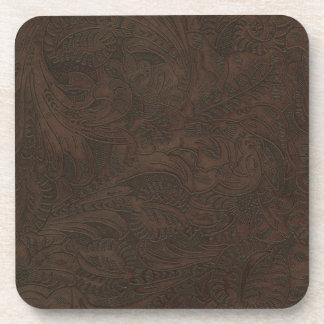 Rustic Western Ranch Tooled Leather-look III Drink Coaster