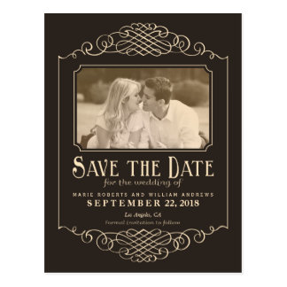 Rustic Western Save the Date Photo Postcard