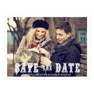 RUSTIC WESTERN SCRIPT PHOTO SAVE THE DATE POSTCARD