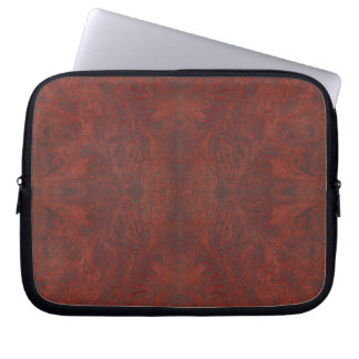 Rustic Western-style Faux Tooled Leather Computer Sleeve