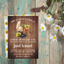 Rustic Western Sunflower Cowgirl Baby Shower Invitation