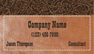 Vintage western business cards zazzle rustic western tooled leather business card colourmoves