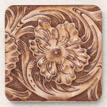 Rustic Western Tooled Leather-look Beverage Coaster