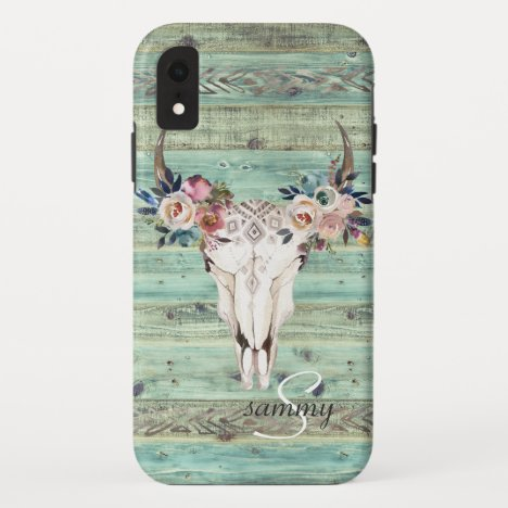 Rustic Western Turquoise Wood Cow Skull Monogram iPhone XR Case