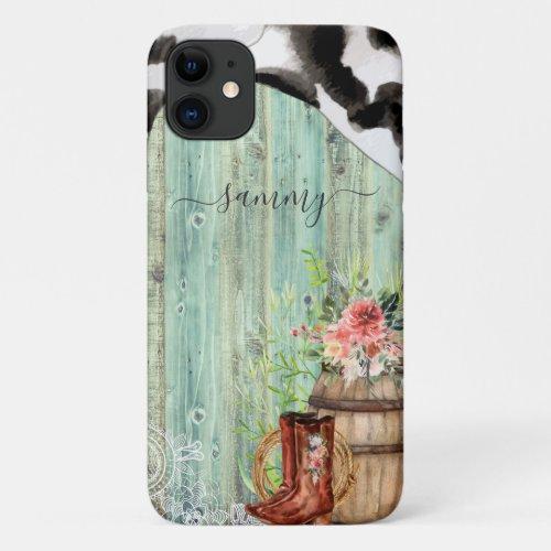 Rustic Western Turquoise Wood Cowhide Phone Case