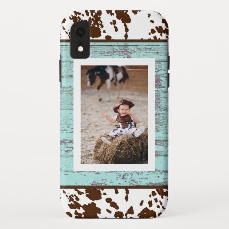 Rustic Western Turquoise Wood Cowhide Photo iPhone XR Case