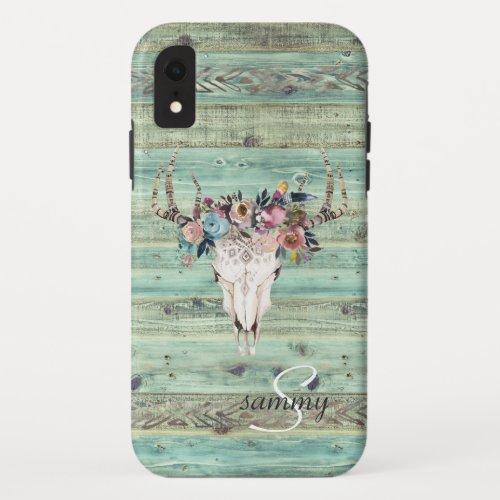 Rustic Western Turquoise Wood Deer Skull Monogram Phone Case
