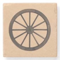 Rustic Western Wagon Wheel Stone Coaster