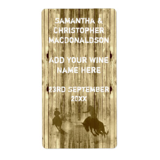 Rustic western wild west cowboy  wine shipping label