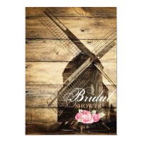 rustic western windmill Barn bridal shower Invitation