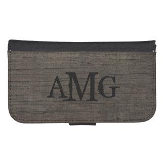 Rustic Western Wood Masculine Monogram Galaxy S4 Wallet Case