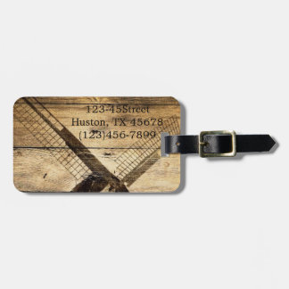 rustic western woodgrain windmill country wedding tags for bags