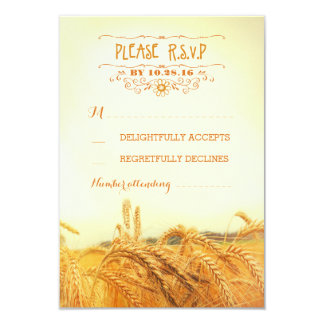 Rustic wheat field wedding RSVP cards