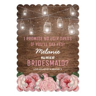 Rustic Whimsical Bridesmaid   Pink Floral Card