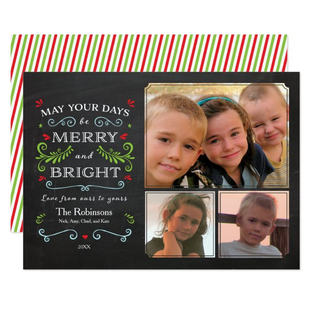 Rustic Whimsical Chalkboard Holiday 3-Photo Card (front side)
