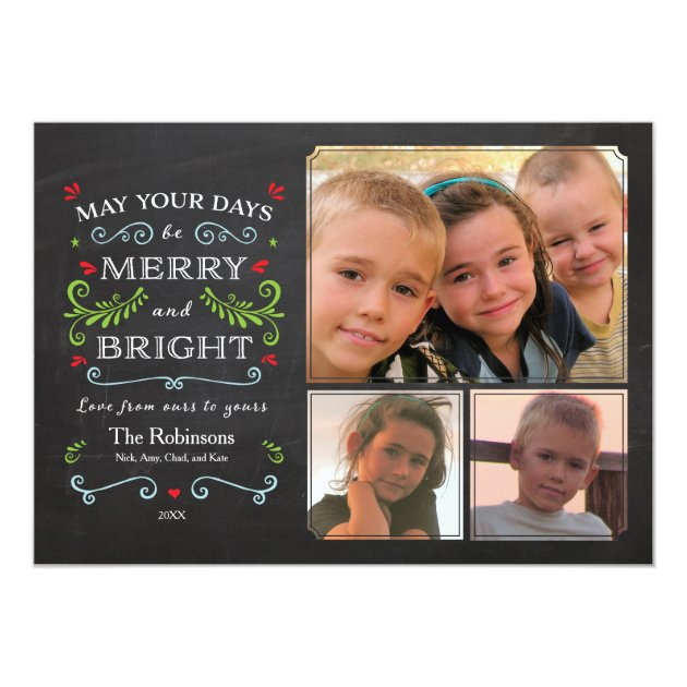Rustic Whimsical Chalkboard Holiday 3-Photo Card (back side)