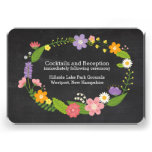 Rustic Whimsical Floral Wreath Chalkboard Insert Personalized Invite