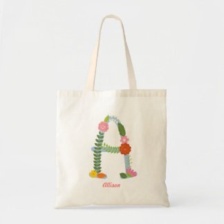 Rustic Whimsical Flower Monogram (A) Tote Bag