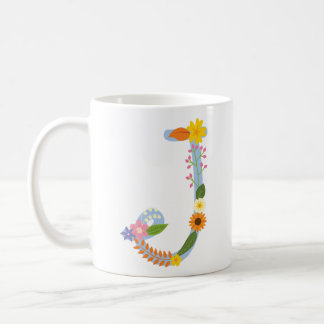 Rustic Whimsical Flower Monogram (J) Coffee Mug