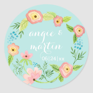 Rustic Whimsical Granny Chic Hipster Floral Bridal Classic Round Sticker
