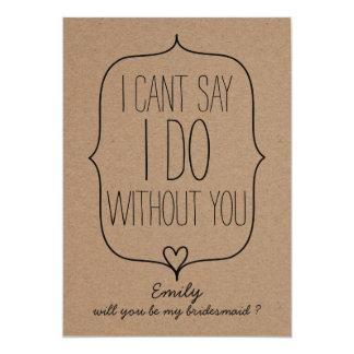 Rustic Whimsical Kraft Paper Cute Heart Bridesmaid Card