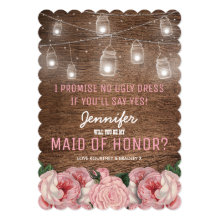 Rustic Whimsical Maid of Honor | Pink Floral Cards