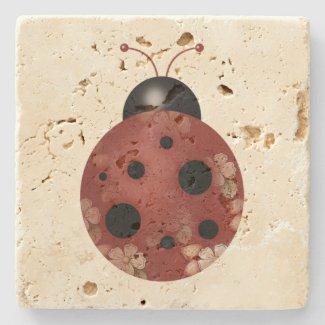 Rustic Whimsical Primitive Floral Ladybug Stone Coaster