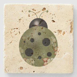 Rustic Whimsical Primitive Green Floral Ladybug Stone Coaster