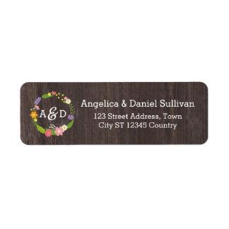 Rustic Whimsical Woodland Floral Wreath Monogram Label