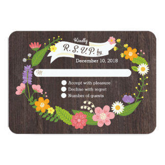 Rustic Whimsical Woodland Floral Wreath RSVP Card