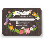 Rustic Whimsical Woodland Floral Wreath RSVP Personalized Invites