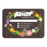 """Rustic Whimsical Woodland Floral Wreath RSVP 3.5"""" X 5"""" Invitation Card"""