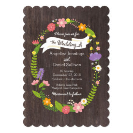 Rustic Whimsical Woodland Floral Wreath Wedding 5x7 Paper Invitation Card