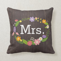 Rustic Whimsical Woodland Wreath Sweetheart Table Throw Pillow
