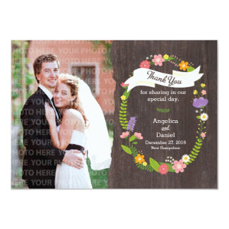"Rustic Whimsical Woodland Wreath Thank You Photo 4.5"" X 6.25"" Invitation Card"