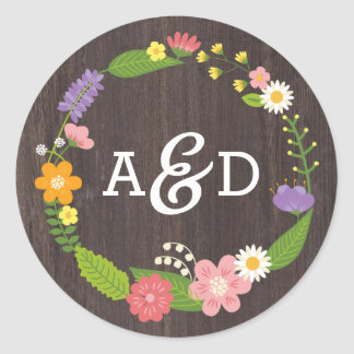 Rustic Whimsical Woodland Wreath Wedding Monogram Classic Round Sticker