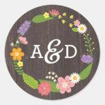 Rustic Whimsical Woodland Wreath Wedding Monogram Classic Round Sticker