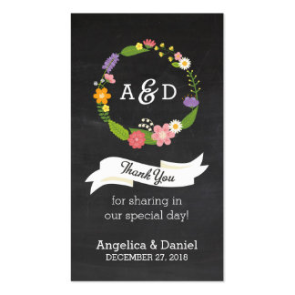 Rustic Whimsical Wreath Chalkboard Favor Tag Business Card