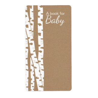 Rustic White Birch Trees Baby Book Tags