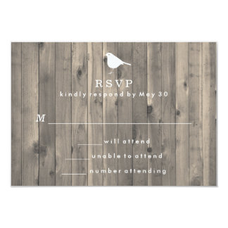 Rustic White Bird on Wooden Background RSVP Card