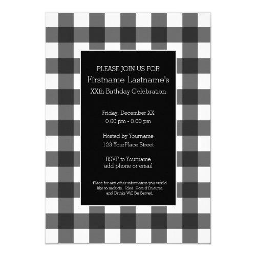 Rustic White  Black Buffalo Plaid Birthday Party Invitation