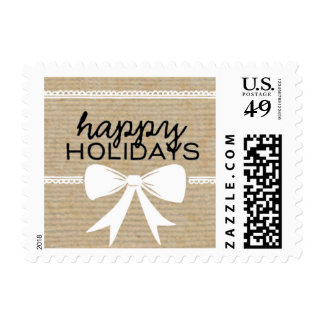 Rustic White Bow & Ribbon Holiday Stamp