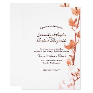 Rustic White Cotton Wedding Invitation