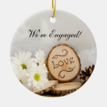 Rustic White Daisies Woodland Engagement Ornament