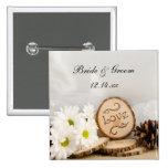 Rustic White Daisies Woodland Wedding Button