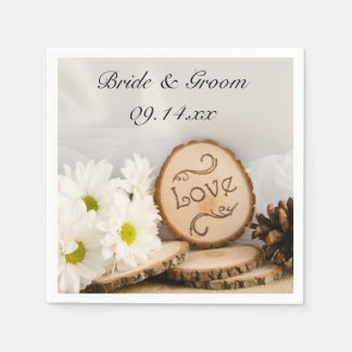 Rustic White Daisies Woodland Wedding Paper Napkin