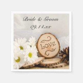 Rustic White Daisies Woodland Wedding Paper Napkin
