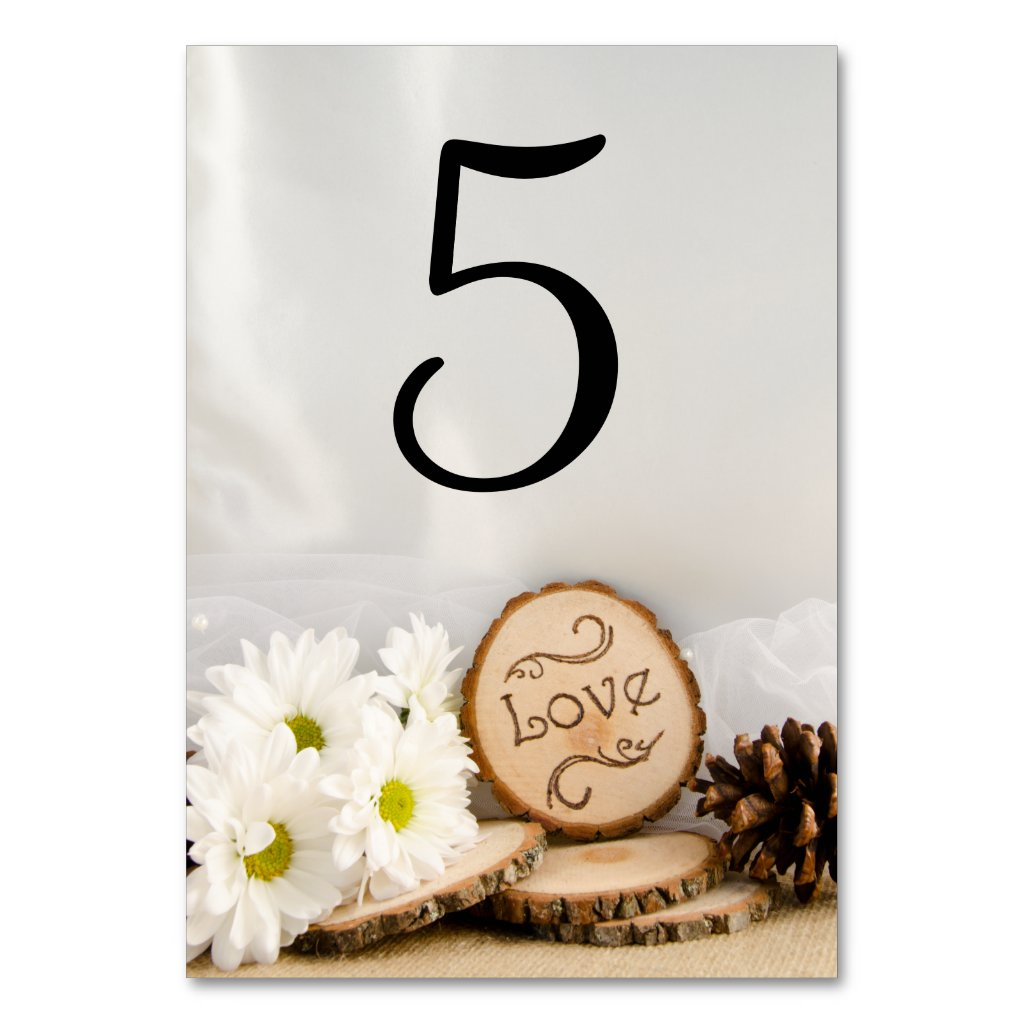 Rustic White Daisies Woodland Wedding Table Number Table Card